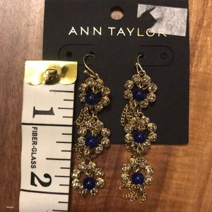 Ann Taylor drop navy blue/crystal earrings. BNWT
